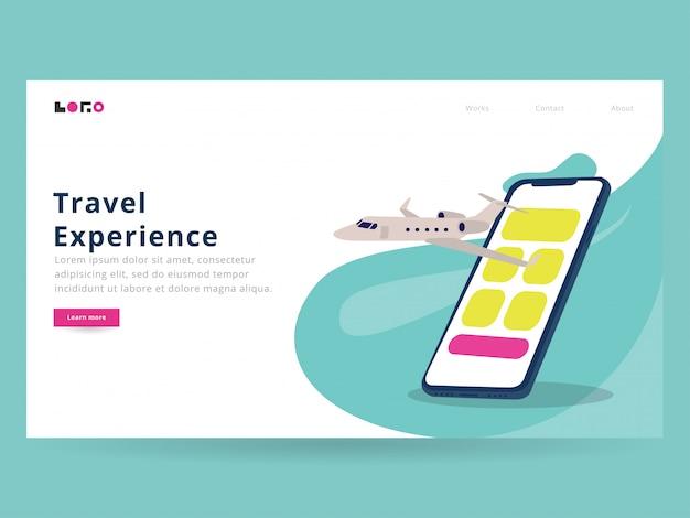 Página de destino de viagens on-line