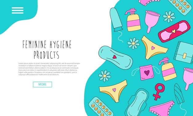 Página de destino desenhada à mão com produtos de higiene feminina com elementos coloridos