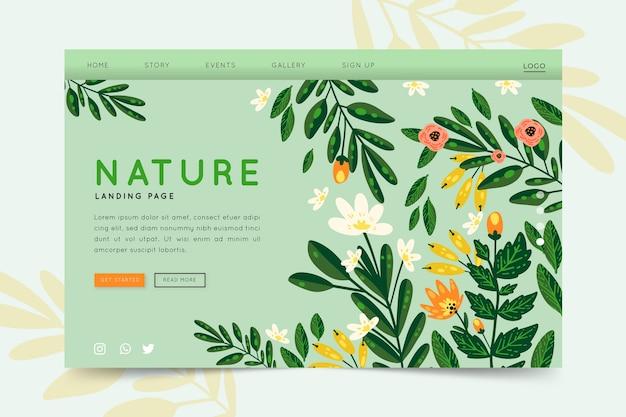 Página de destino desenhada à mão da natureza