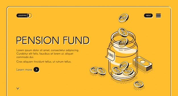 Página de destino desenhada à mão do fundo de pensão
