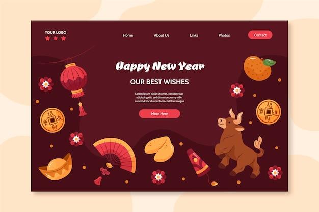 Página de destino desenhada à mão para o ano novo chinês