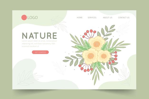 Página de destino desenhada de mão com flores