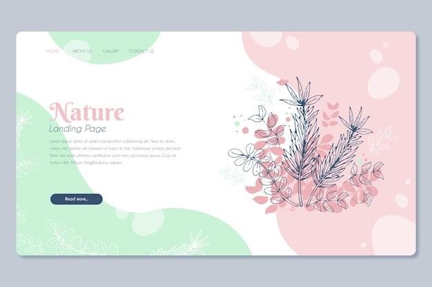 Página de destino desenhada de mão modelo natureza