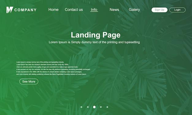 Página de destino design com fundo verde da natureza