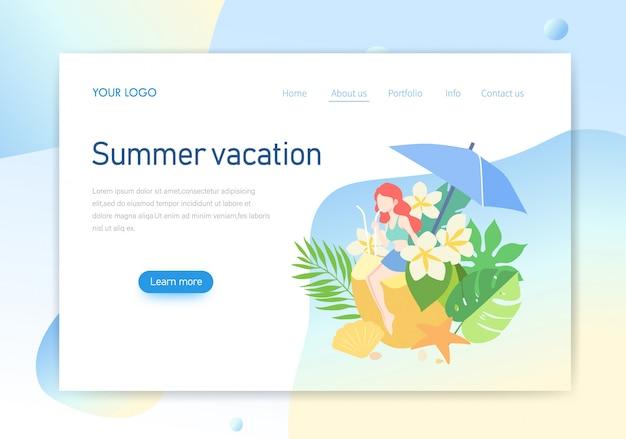 Página de destino, design de ilustração de página de férias de verão