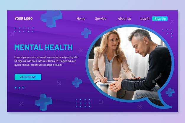 Página de destino detalhada de saúde mental com foto
