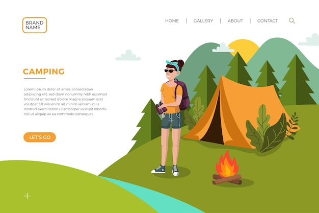 Página de destino do acampamento com mulher e barraca
