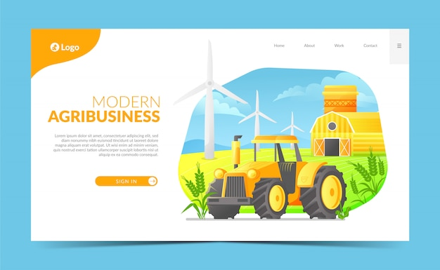 Página de destino do agronegócio