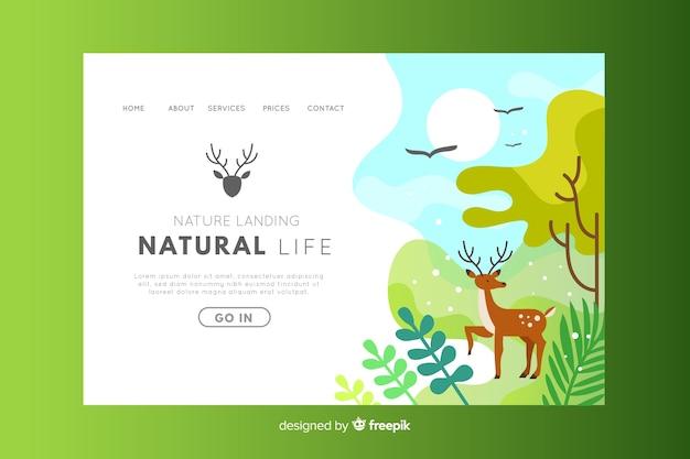 Página de destino do ambiente de vida natural