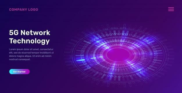 Página de destino do anel de néon azul brilhante, círculo digital futurista