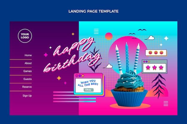 Página de destino do aniversário do gradiente retro vaporwave