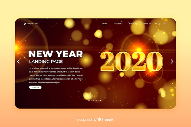Página de destino do ano novo 2020 turva brilhos