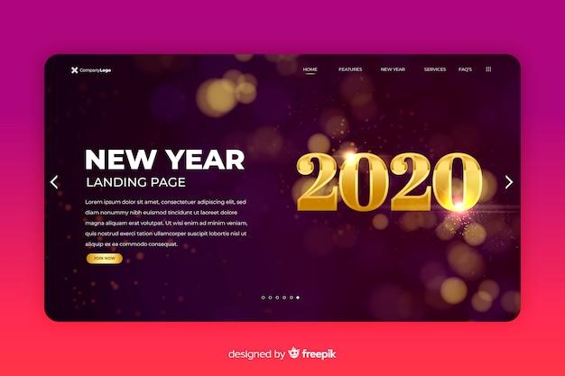 Página de destino do ano novo 2020 turva fundo
