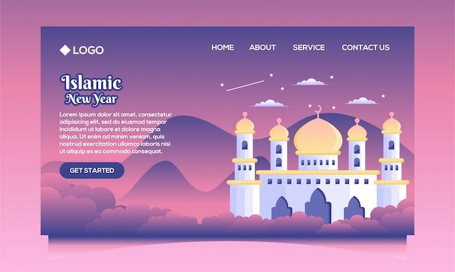 página de destino do ano novo islâmico com vetor de mesquita plana