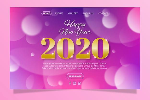 Página de destino do ano novo turva