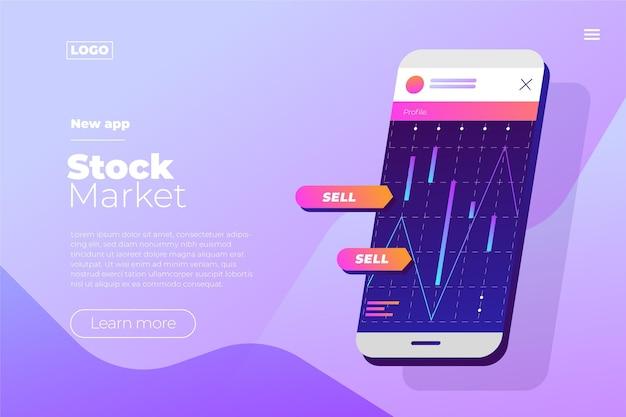 Página de destino do aplicativo da bolsa de valores