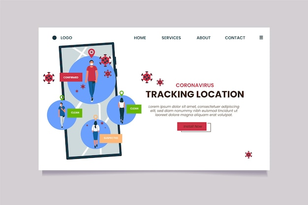 Página de destino do aplicativo de rastreamento de coronavirus
