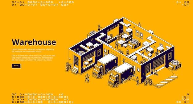 Página de destino do armazém. infraestrutura logística para armazenamento