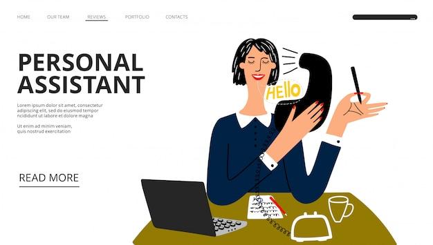 Página de destino do assistente pessoal. modelo de banner da web de ajuda comercial