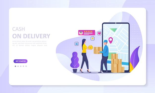 Página de destino do banner do serviço cash on delivery e rastreamento de pedidos