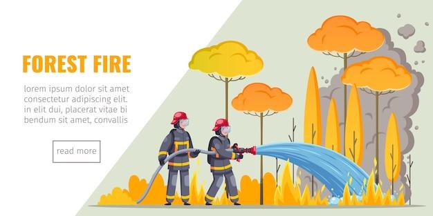 Página de destino do banner horizontal de bombeiros