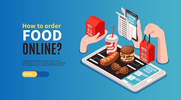 Página de destino do banner horizontal de entrega isométrica de alimentos