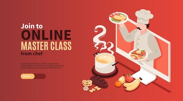 Página de destino do banner horizontal do blog da escola de culinária isométrica