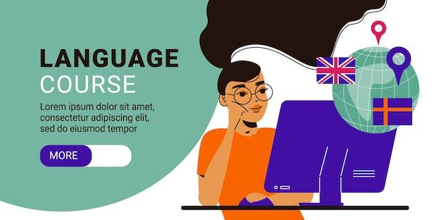 Página de destino do banner horizontal do curso de idioma