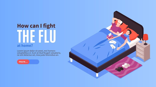 Página de destino do banner horizontal do vírus da gripe resfriado isométrico doente