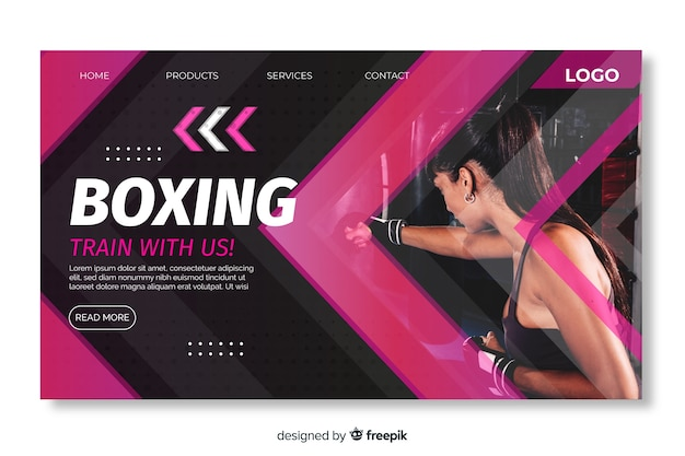 Página de destino do boxe esportivo