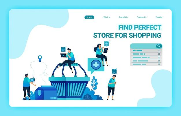 Página de destino do carrinho de compras com pessoas ao redor que desejam fazer compras. e-commerce com serviços de delivery e cartonagem.