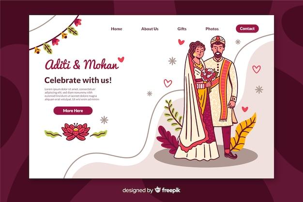 Página de destino do casamento colorido
