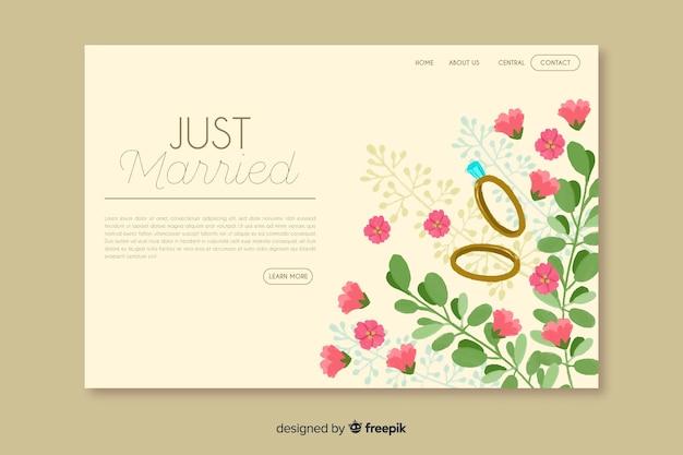 Página de destino do casamento floral