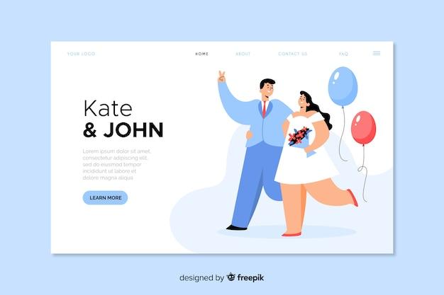 Página de destino do casamento lindo