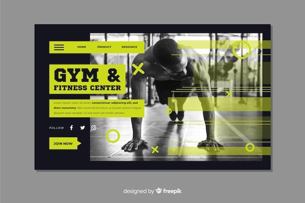 Página de destino do centro de fitness e academia