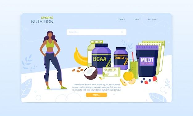 Página de destino do complexo de nutrição esportiva para mulheres