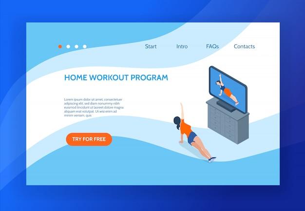 Página de destino do conceito de aeróbica com mulher fazendo exercícios em casa na frente da televisão 3d isométrica ilustração em vetor