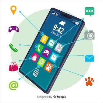Página de destino do conceito de aplicativos para dispositivos móveis