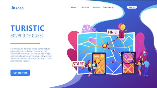 Página de destino do conceito de busca da cidade interativa