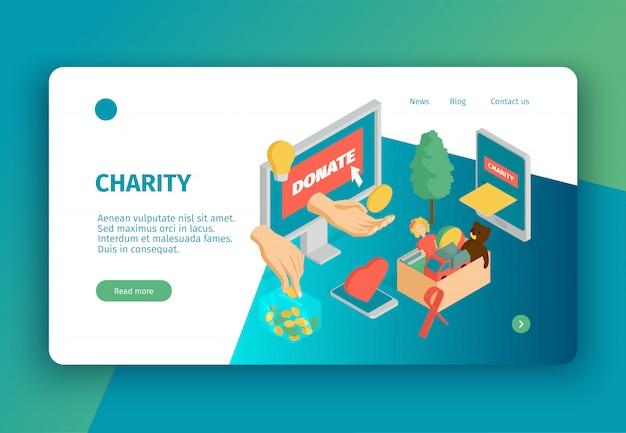 Página de destino do conceito de caridade isométrica com texto de links clicáveis e imagens conceituais de doações e gadgets eletrônicos