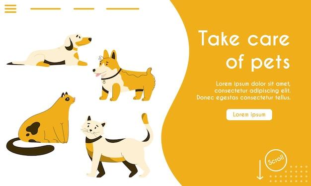 Página de destino do conceito de cuidar de animais de estimação