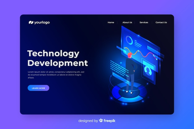 Página de destino do conceito de desenvolvimento técnico
