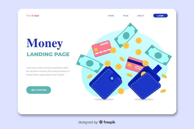 Página de destino do conceito de dinheiro