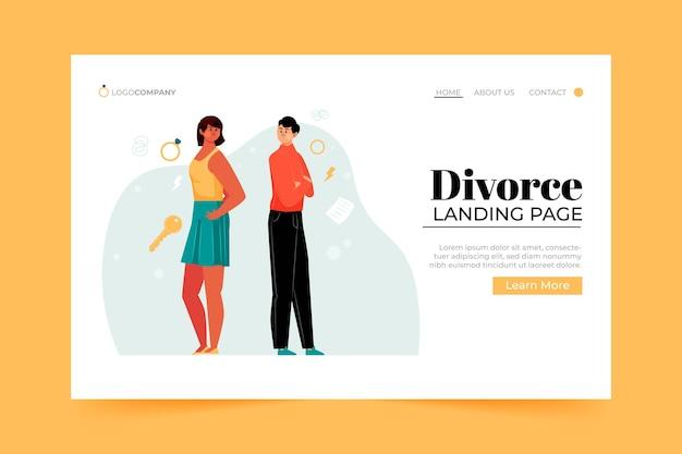 Página de destino do conceito de divórcio