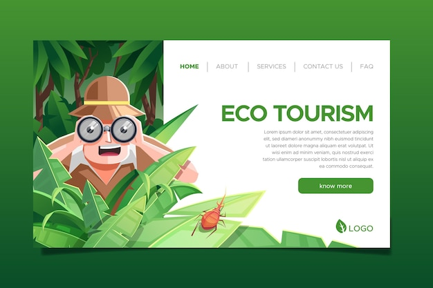 Página de destino do conceito de ecoturismo ilustrada