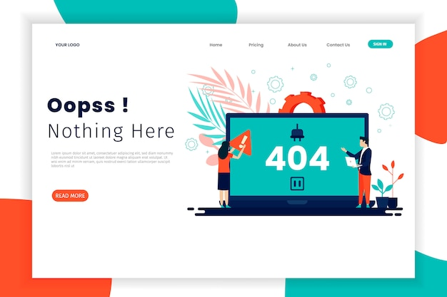 Página de destino do conceito de erro 404 com laptop