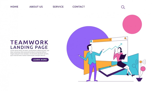 Página de destino do conceito de escritório