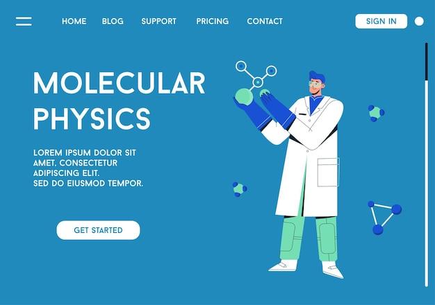 Página de destino do conceito de física molecular