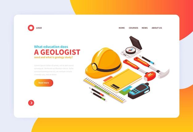 Página de destino do conceito de geologia isométrica