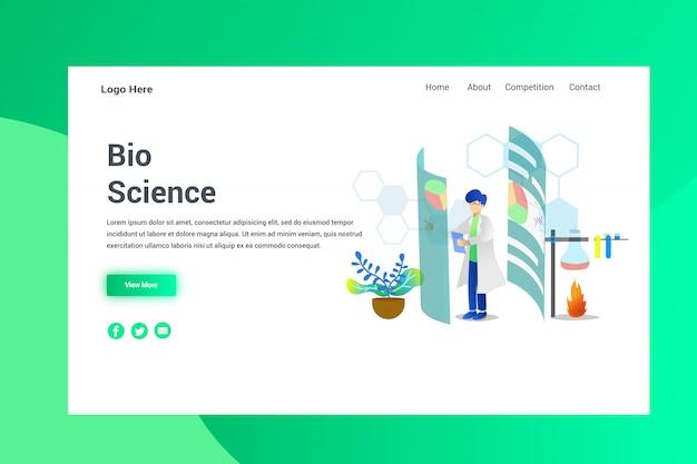 Página de destino do conceito de ilustração de bio science de cabeçalho de página da web